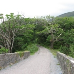"""The bridge and road rising from """"Meeting of the Waters."""""""