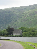 The lakeside chapel in Gougane Barra, Ireland's first national park. The hills behind were quite a climb out the next day.