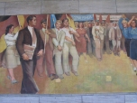 A socialist mural on an outside wall of what was the Luftwaffe headquarters during World War II, the House of Ministries during the Communist East German regime, and today is the Ministry of Finance (2001).