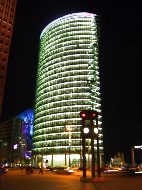 The Deutsche Bank tower at Potsdamer Platz, which the Berlin Wall once ran through.