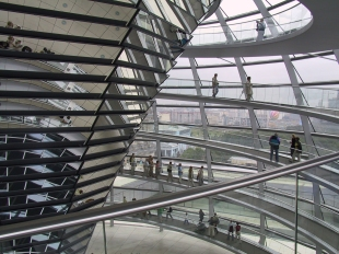 Inside the modern glass dome atop the Reichstag.