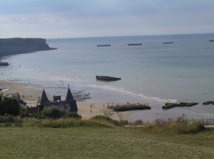 Remains of a Mulberry harbor are seen from above Arromanches.