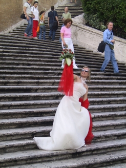 A model on the Spanish Steps in Rome.