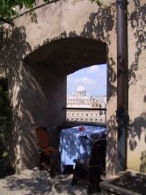 A view of St. Peter's Basilica from a rooftop restaurant at Castel Sant'Angelo.