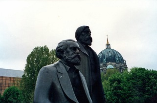 Statues of Karl Marx and Friedrich Engels, the fathers of Communism, in the Marx-Engels Forum just east of the Spree River in the Mitte section of Berlin.