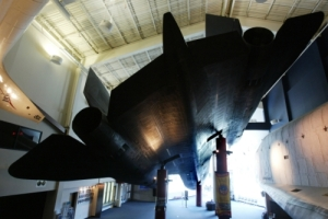 An SR 71 Blackbird spy plane greets visitors in the lobby of the Cosmosphere.