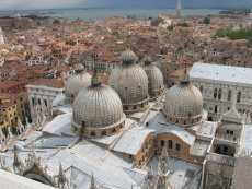 The domes of the Basilica San Marco from the 300 foot tall bell tower.