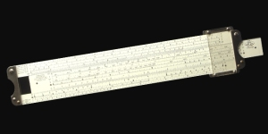 The slide rule once used by Wernher von Braun, who headed the German rocket program in World War II and then the U.S. space program.